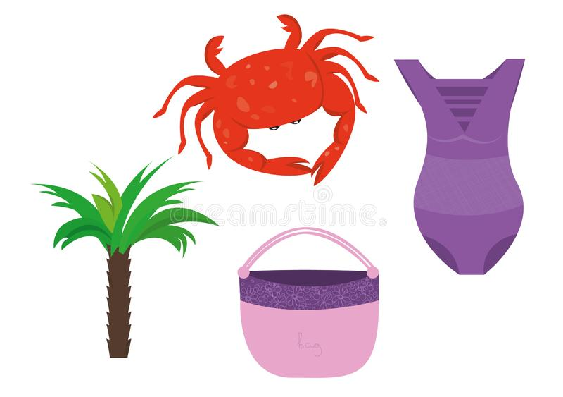 Summer holidays beach vacation accessories cartoon images set vector illustration. Summer holidays tropical beach vacation accessories cartoon images set vector illustration