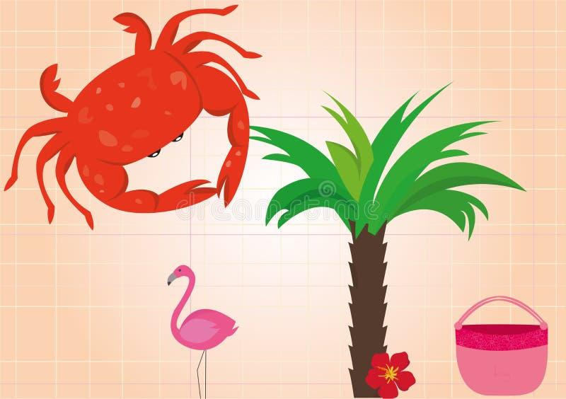 Summer holidays beach vacation accessories cartoon images set vector illustration. Summer holidays tropical beach vacation accessories cartoon images set with vector illustration