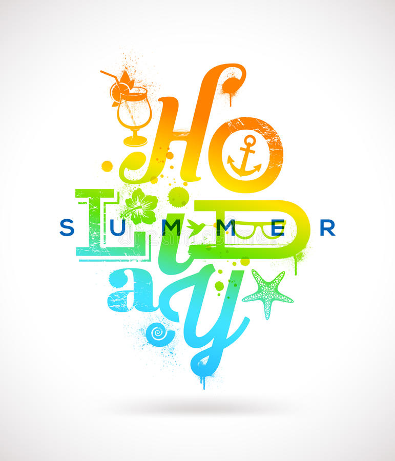 Summer holidays type design. Summer holidays multicolored type design royalty free illustration