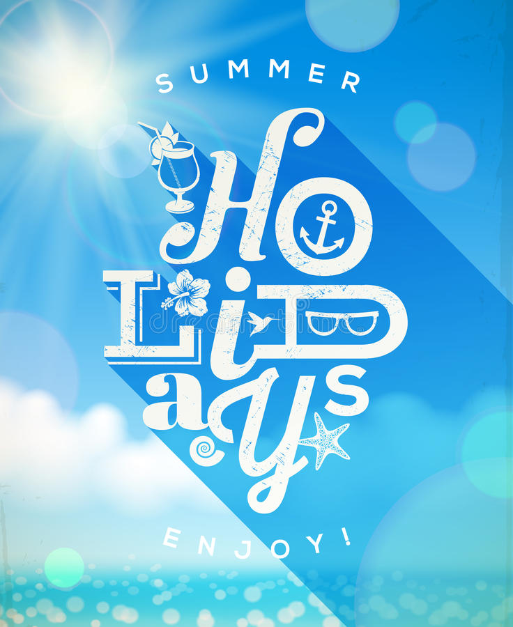 Summer holidays type design. With summer things against a sunny seascape vector illustration