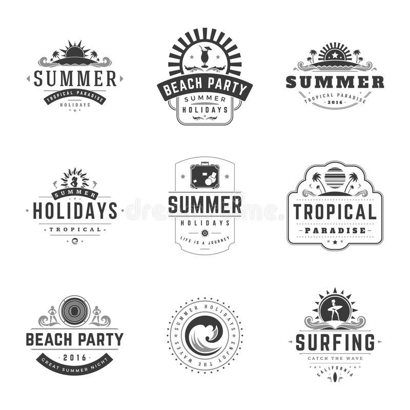 Summer Holidays Typography Labels or Badges Vector Design. Summer Silhouettes and Icons for Posters, Greeting Cards and Advertising. Vintage style stock illustration