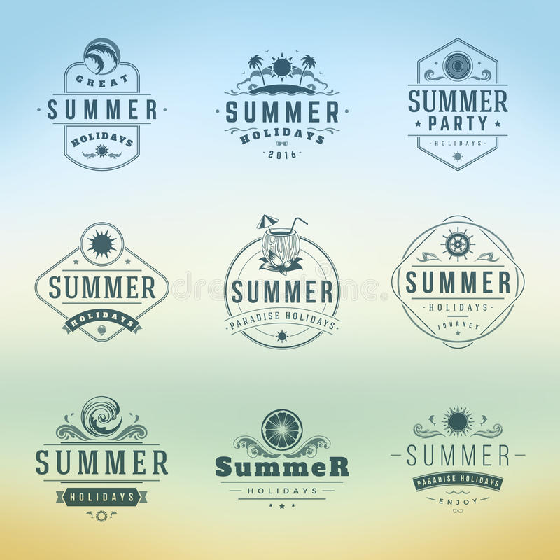 Summer Holidays Typography Labels or Badges Vector Design. Summer Silhouettes and Icons for Posters, Greeting Cards and Advertising. Vintage style royalty free illustration