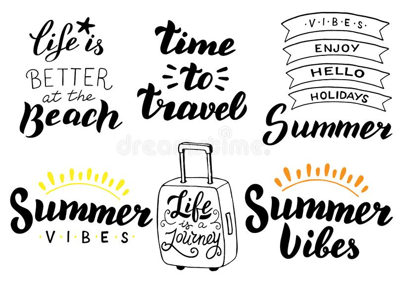 Summer holidays typography set. Summer travel, adventures concept. Vacations theme lettering sticker, logo, poster, banner, quote. Vector eps 10 vector illustration