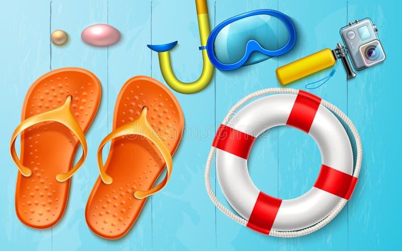 Vector summer sea vacation snorkel camera flops royalty free illustration