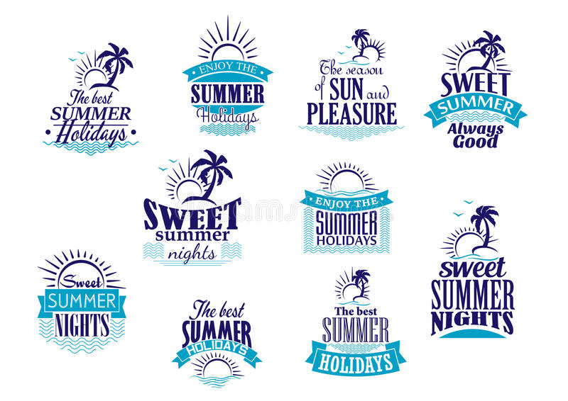 Summer holidays and vacation emblems in blue stock illustration