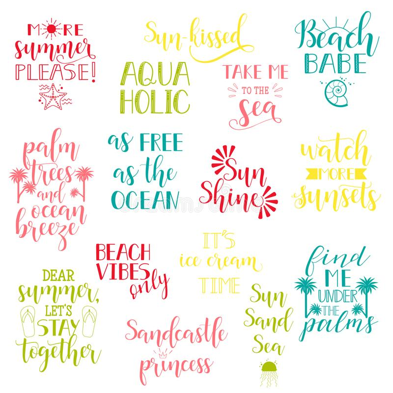 Summer holidays and vacation quotes, phrases and words. Vector set of Hand drawn calligraphy. vector illustration