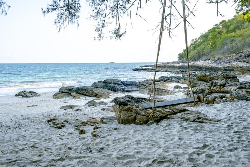 The summer holidays and vacations beach background concept for relaxation at Ao Nuan Bay on Koh Samet island in Rayong province, royalty free stock photos