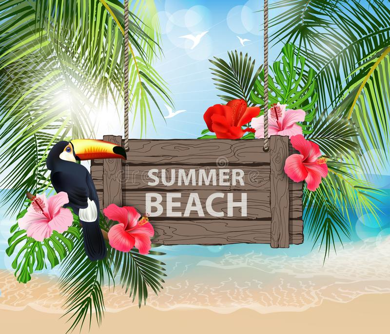 Summer holidays vector illustration. Beach, beautiful sailboat, palm trees, beautiful panoramic sea view, Vector. Summer holidays vector illustration. Beach royalty free illustration
