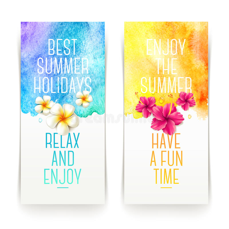 Summer holidays watercolor banners vector illustration