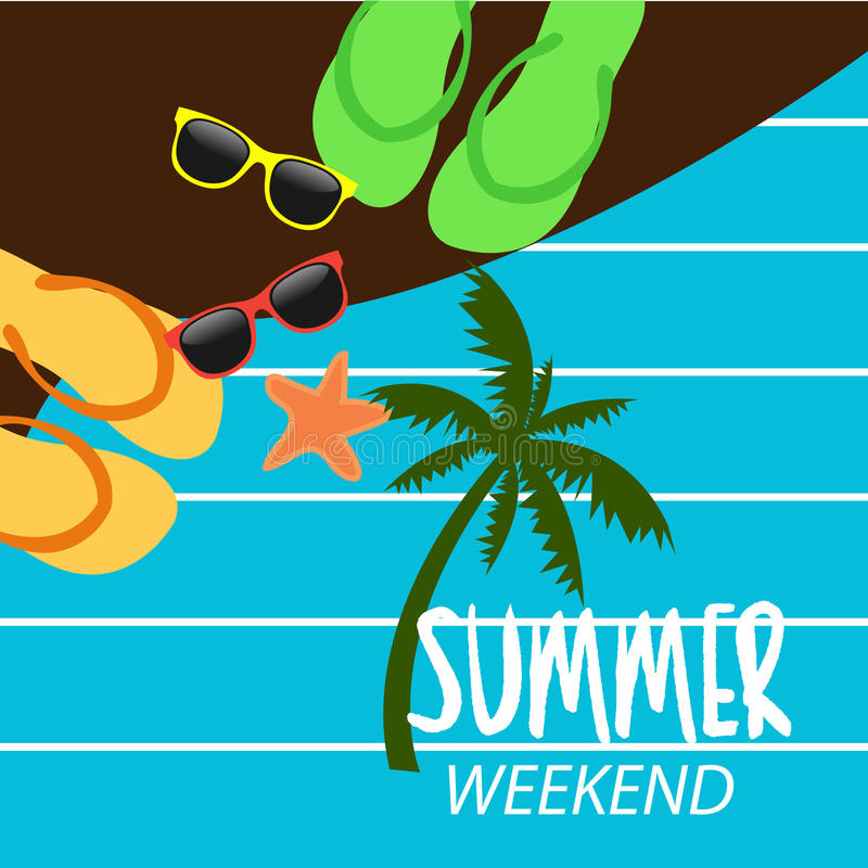 Summer holidays at weekends. Beach flip-flops, glasses, starfish, background illustrator vector illustration