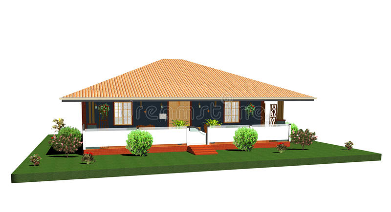 Summer House-Bungalow with Porch-3d. Little Summer House-Bungalow with garden vector illustration