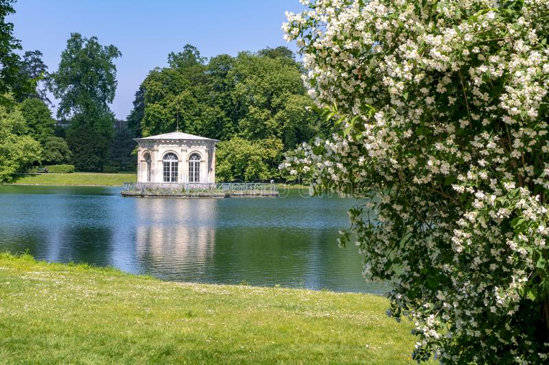 Summer house in Fontainebleau park, France stock photography
