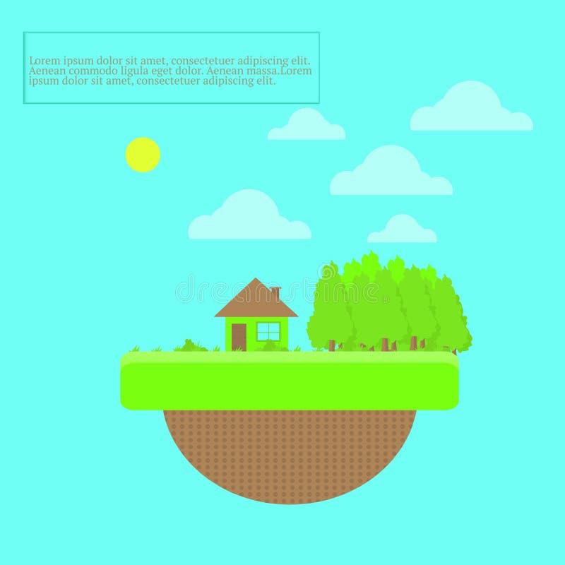 Summer house and world illustration for design stock image