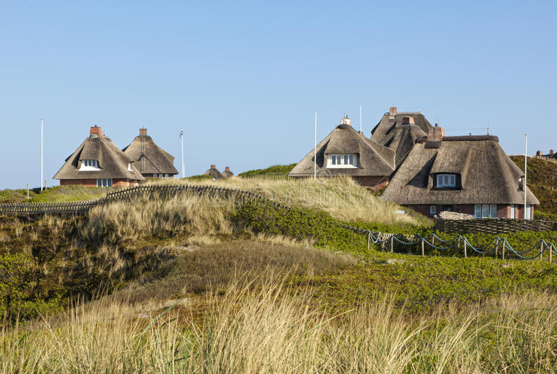 Summer houses at Hoernum, Sylt stock photos