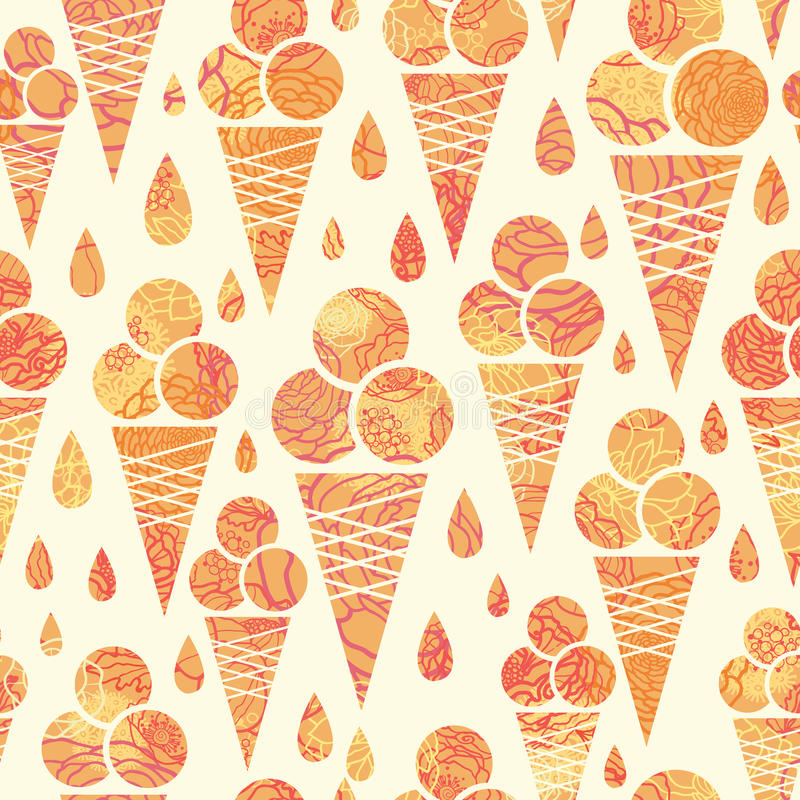 Summer ice cream cones seamless pattern background stock illustration