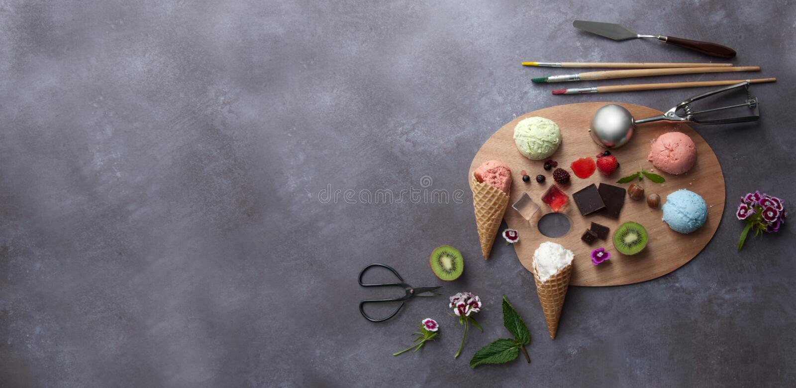 Summer ice cream palette royalty free stock photo