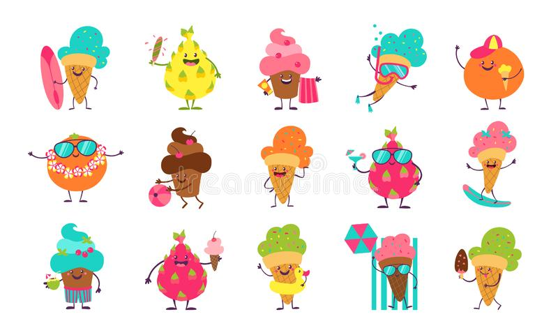 Summer ice cream stickers. Funny doodle desserts and fruits with cute faces doing summer activities. Vector elements for stock illustration