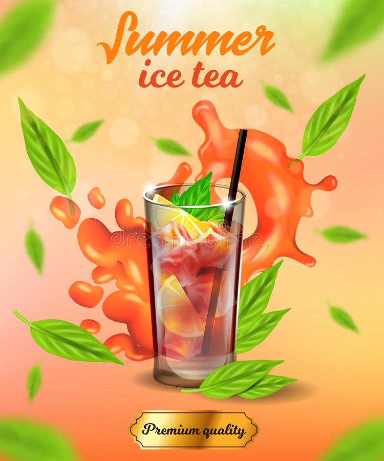 Summer Ice Tea Banner, Premium Quality Cold Drink. Summer Ice Tea Vertical Banner, Premium Quality Cold Drink, Glass with Ice Cubes, Lemon or Citrus Slices and vector illustration