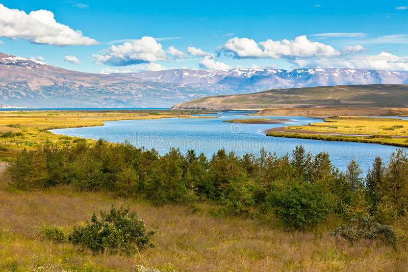 Download Iceland Landscape With River, Mountains And Bright Blue Sky Royalty Free Stock Images - Image: 30101779