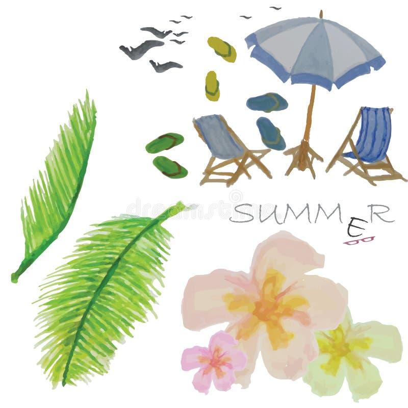 Summer icon on the beach stock illustration