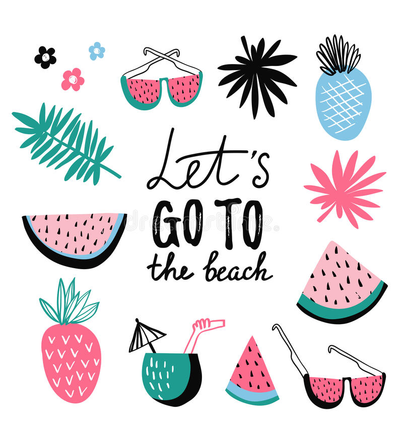 Summer icon collection. Vector tropical set with exotic fruit. stock illustration