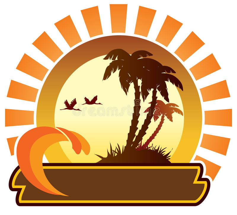 Summer icon - island. Waves, palm trees and sun