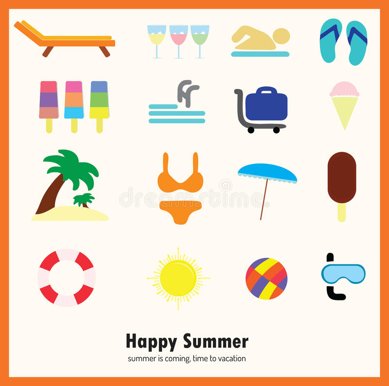 Summer icon set stock photo