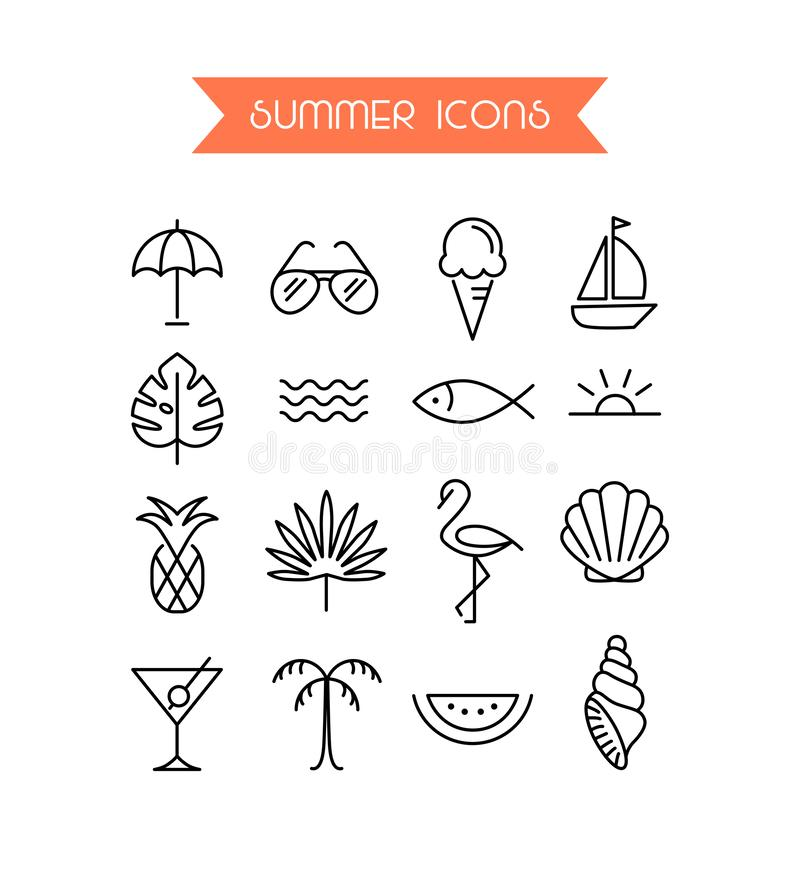 Summer icon set.Trendy symbol collection for Web and App. Editable Stroke. EPS 10 stock illustration