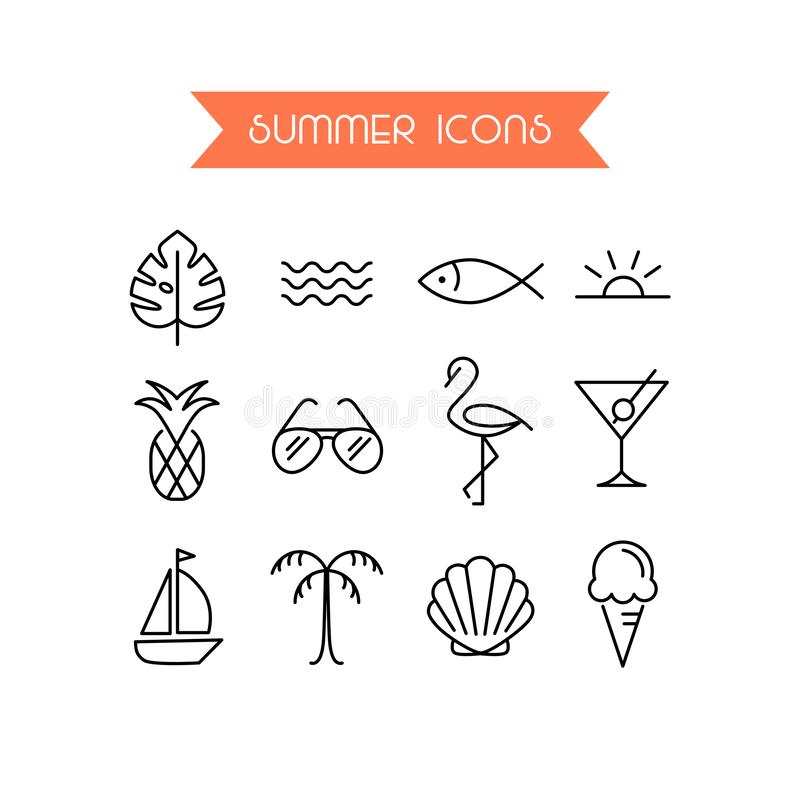Summer icon set.Trendy symbol collection for Web and App. Editable Stroke. EPS 10 vector illustration