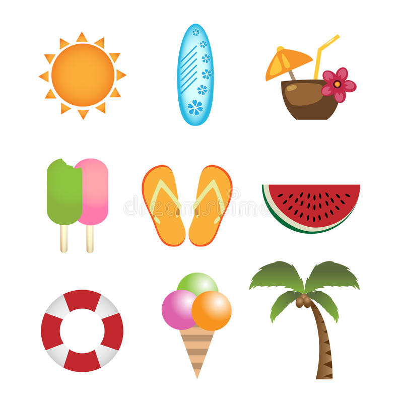 Free Summer Icons Royalty Free Stock Photos - 14065218