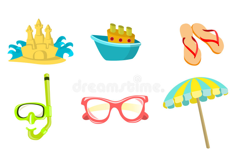 Download Summer icons stock vector. Image of slipper, cruise, nautical - 7119723