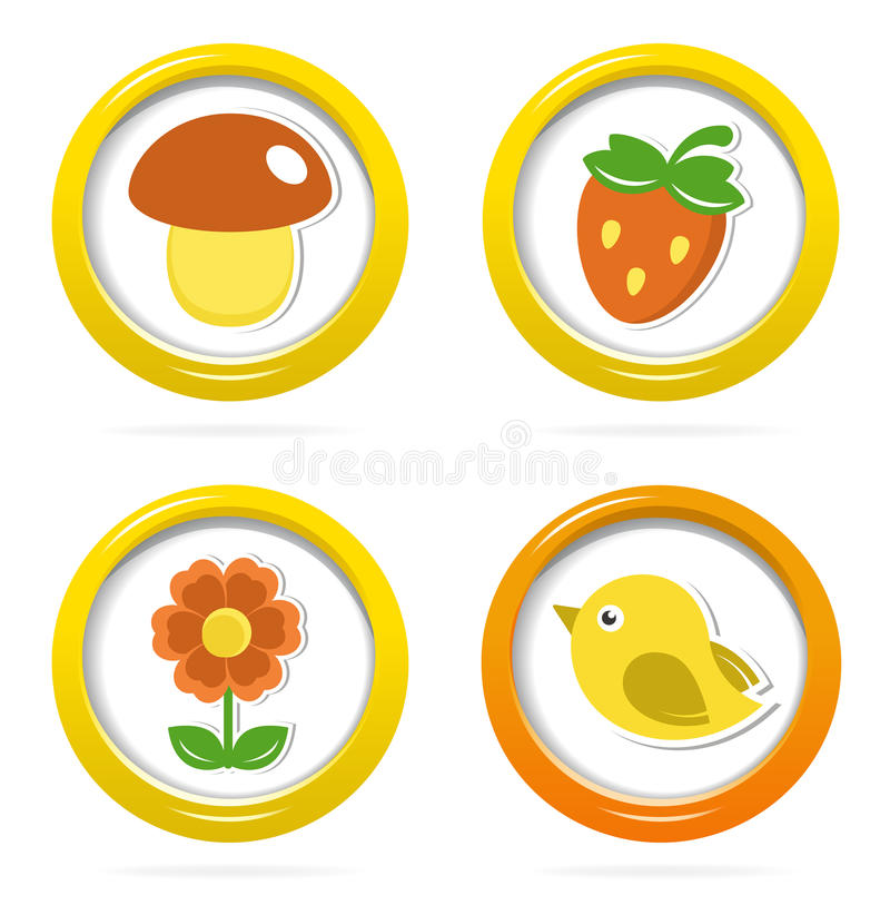 Summer Icons In Colorful Bubbles Royalty Free Stock Photo