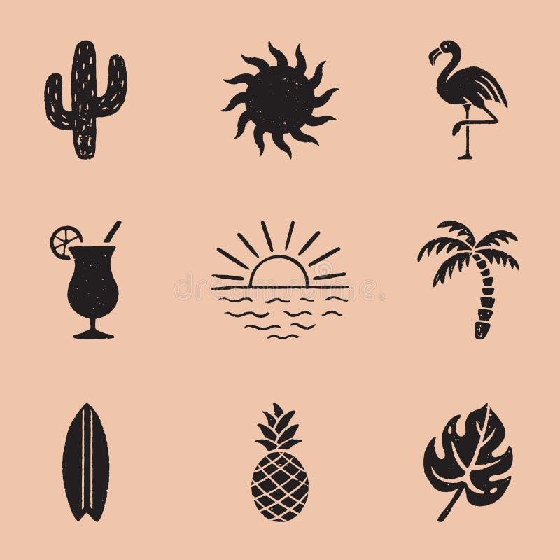 Vintage Summer Icon Illustrations vector illustration
