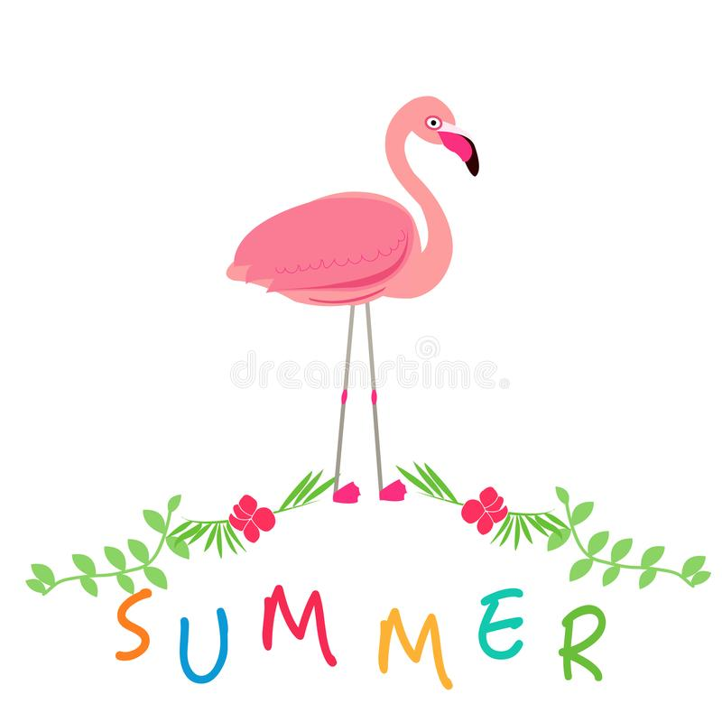 Summer icons with pink flamingo. Summer time background vector illustration