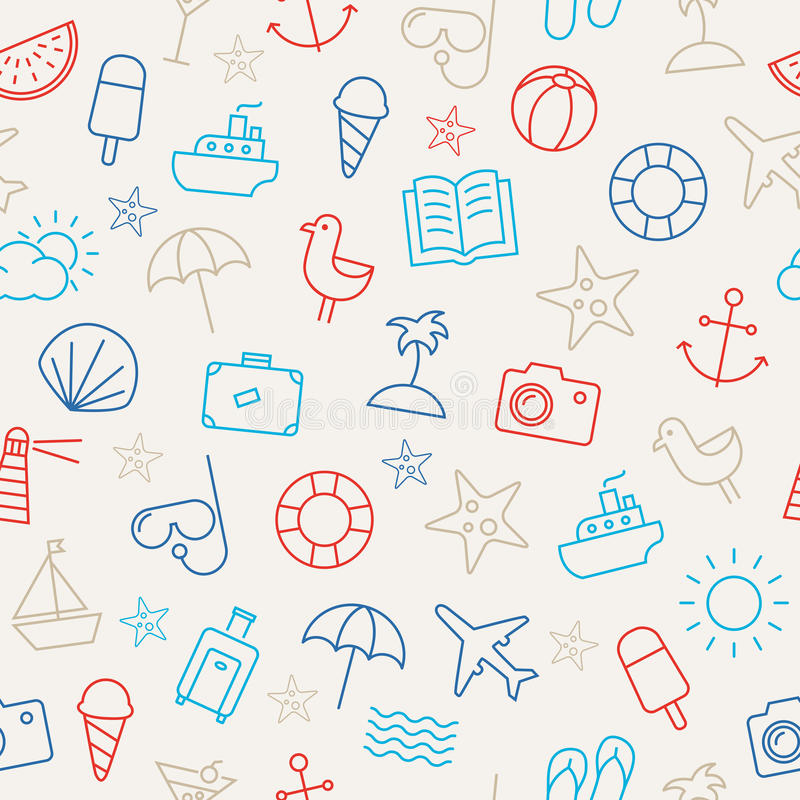 Summer Icons Seamless Pattern vector illustration