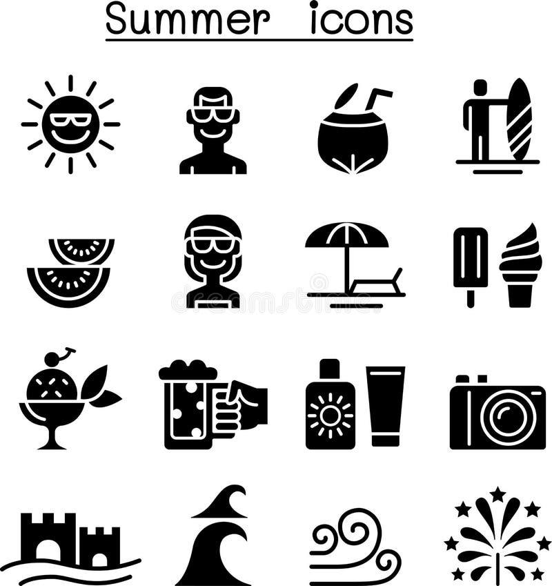 Summer icons set royalty free illustration
