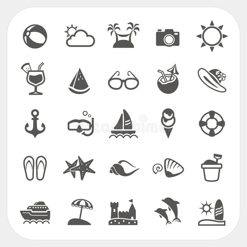 Free Summer Icons Set Stock Images - 37236954