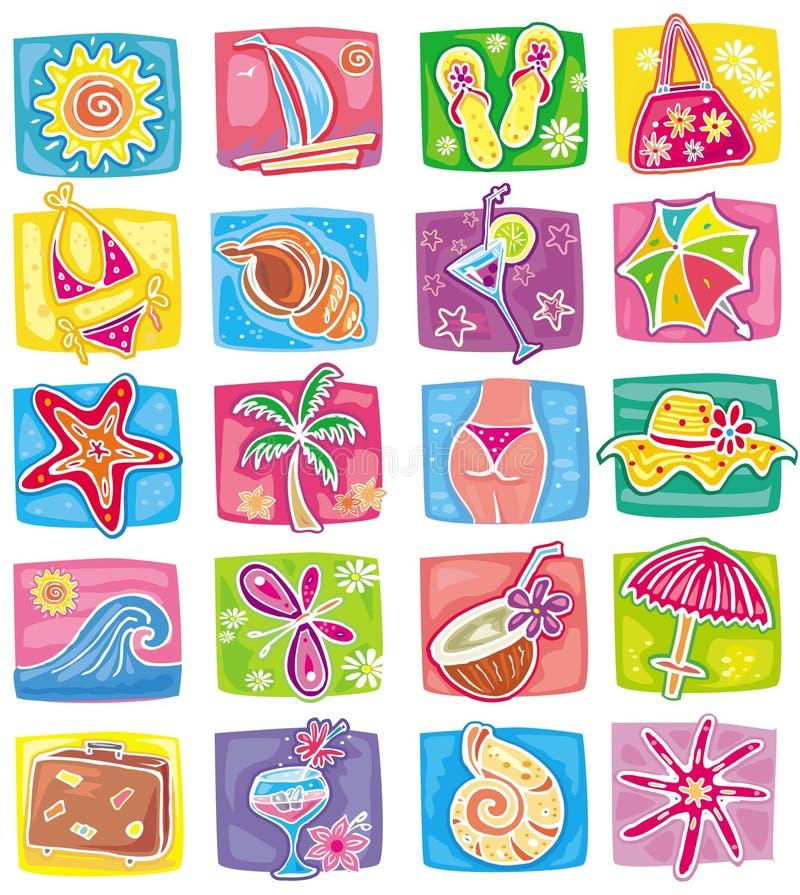 Summer icons set. Summer images set - vector illustration