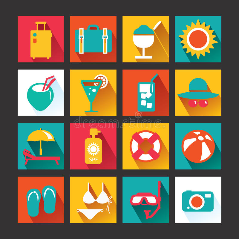 Free Summer Icons Set Design. Icons For Web Design And Infographic.Vector Illustration. Royalty Free Stock Image - 39431346