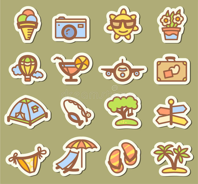 Summer icons royalty free stock photography