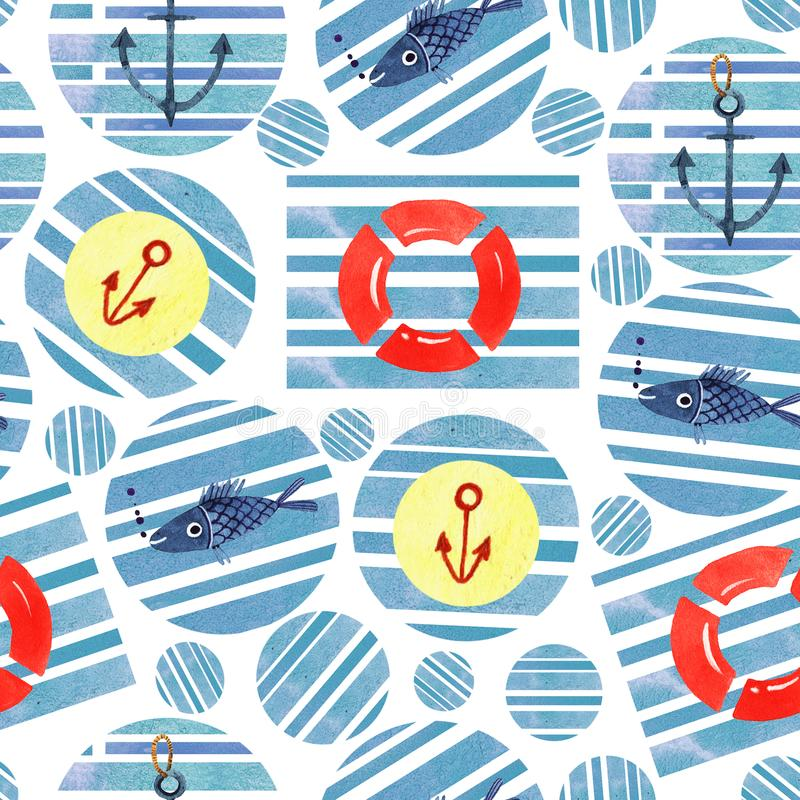 Summer illustration of abstract geometric seamless pattern with blue watercolor circles royalty free illustration