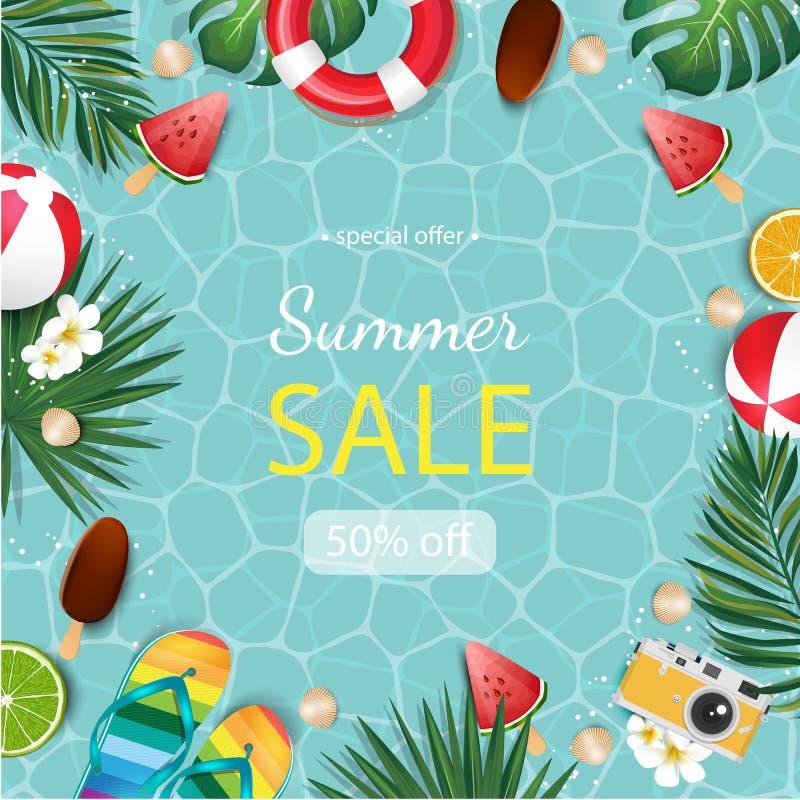 Summer illustration for banner design, poster and voucher. royalty free illustration