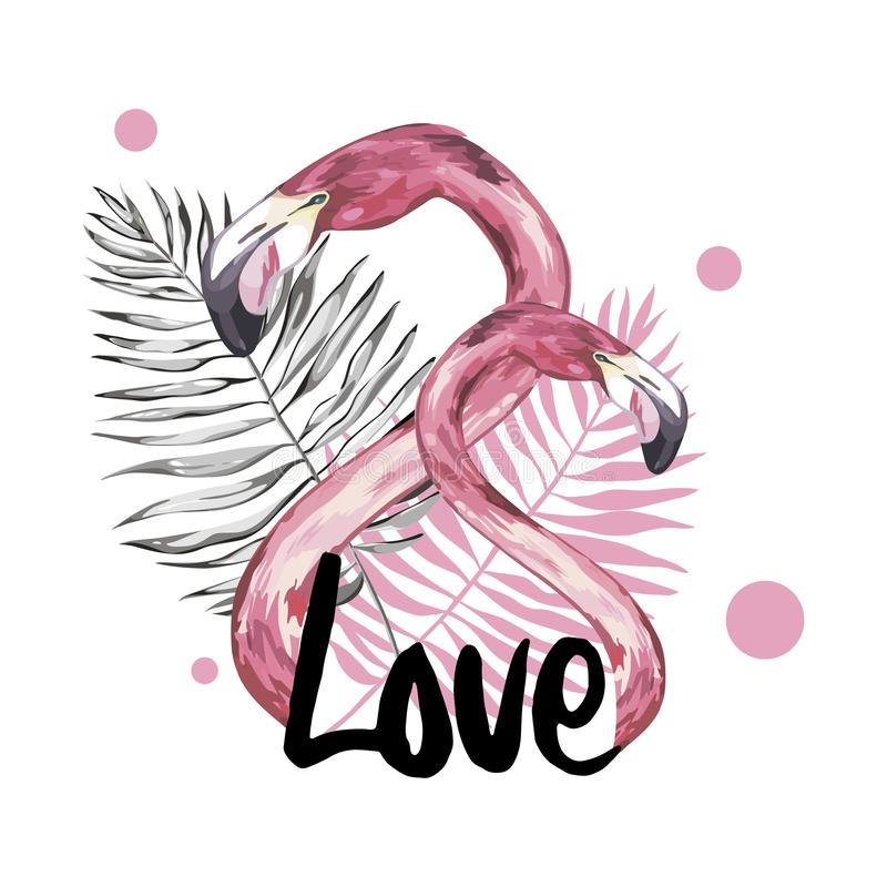 Summer illustration with flamingo. Tropical Bird. Summer Design. T-shirt Fashion Graphic. Hand drawn word - Love. stock illustration