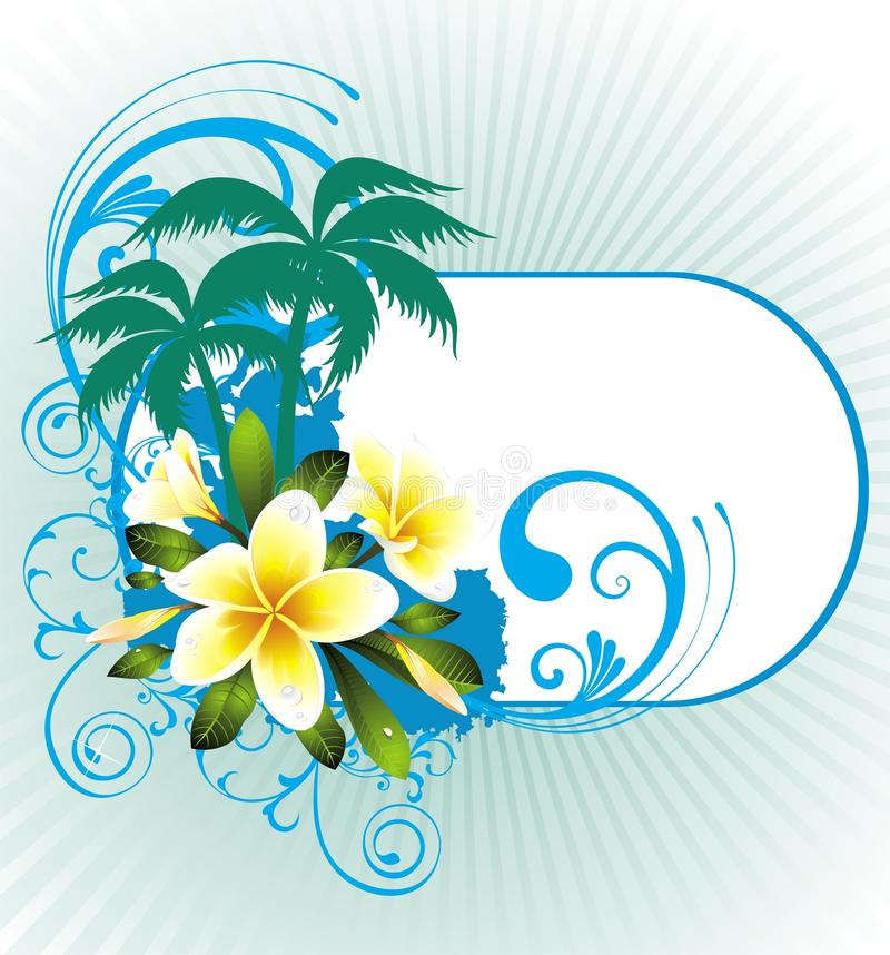 Free Summer Illustration With Palms And Flowers Stock Image - 18906281