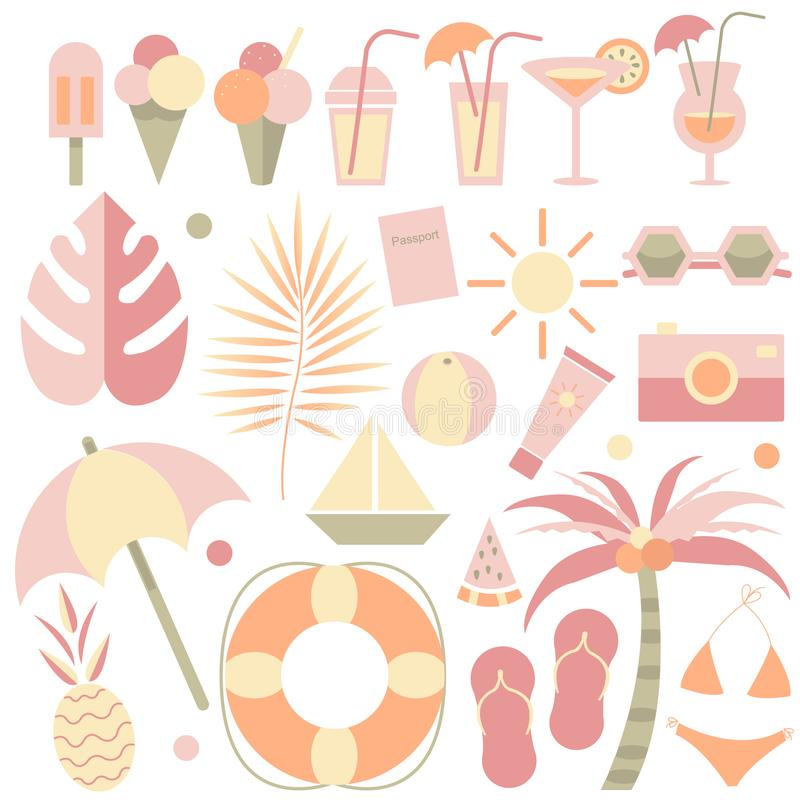 Summer illustrations Set. Hello summer. Summer elements.Set of tropical, beach, ice-cream, cocktail,travel,fruits elements stock illustration