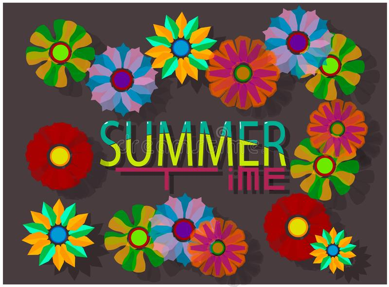 The summer image consists of the words `summer` and `time`. Around the inscription are the buds of different colors with translucent petals royalty free illustration