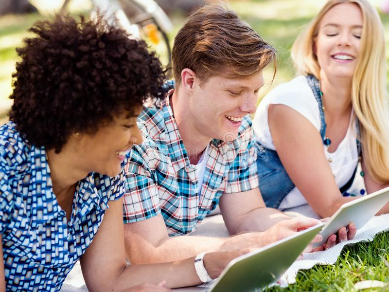 Summer, internet, education, campus and student concept royalty free stock photos
