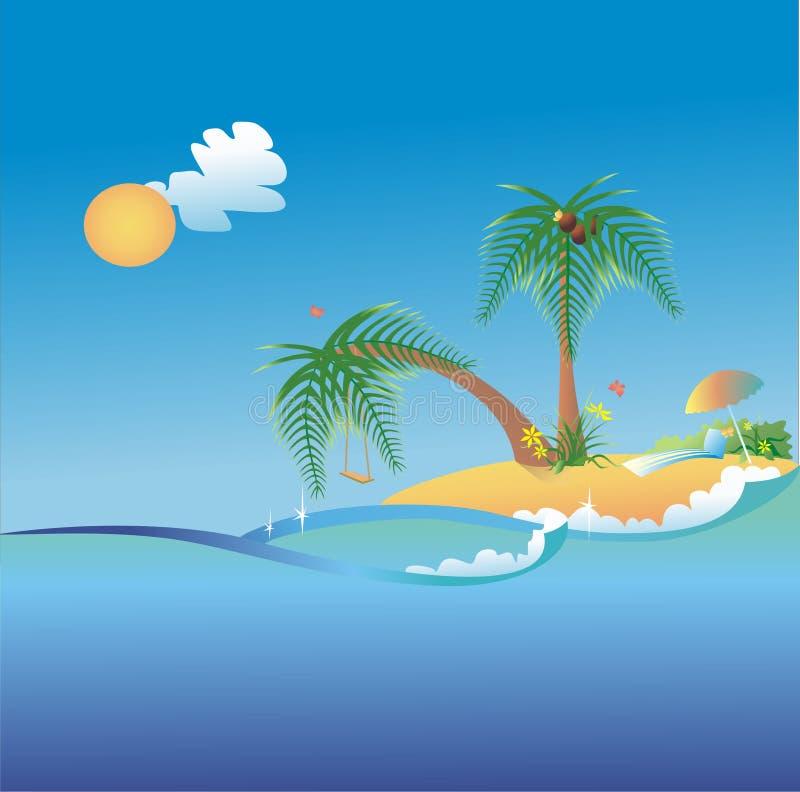 Download Summer island stock vector. Illustration of nooning, parasol - 12265131