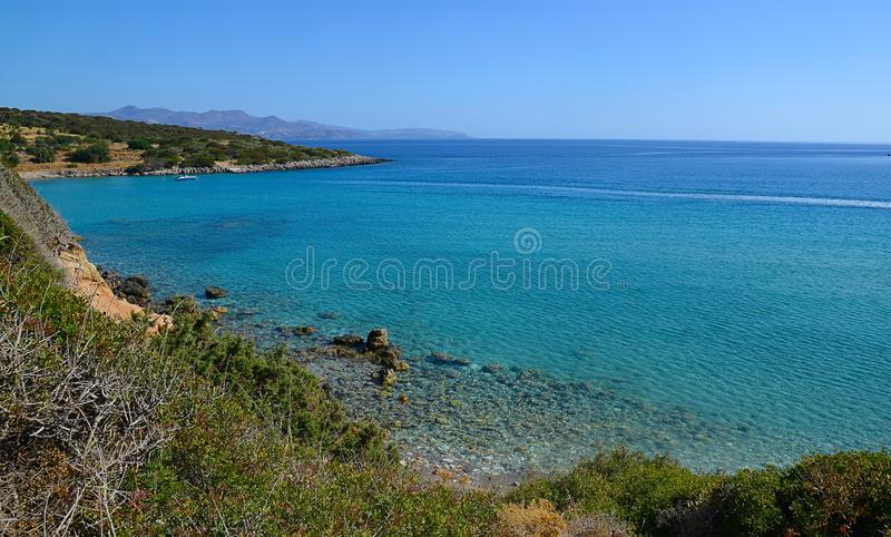 Summer island Crete, sea view from the mountain, Greece stock photo