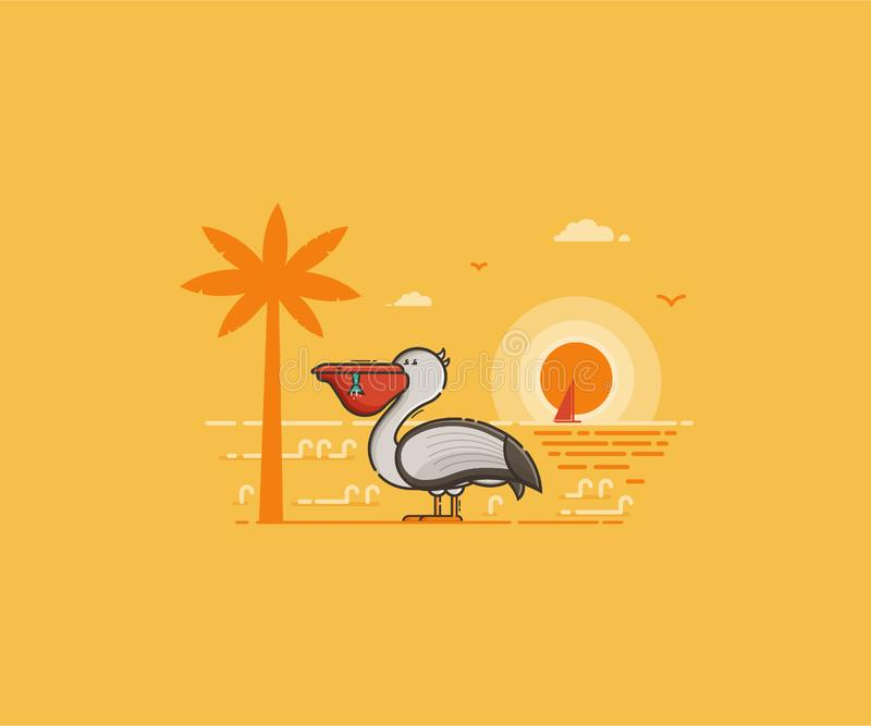 Pelican on Seaside Background. Summer island landscape with large sea bird on beach by sunset in flat design. White pelican with full beak on tropical seaside vector illustration